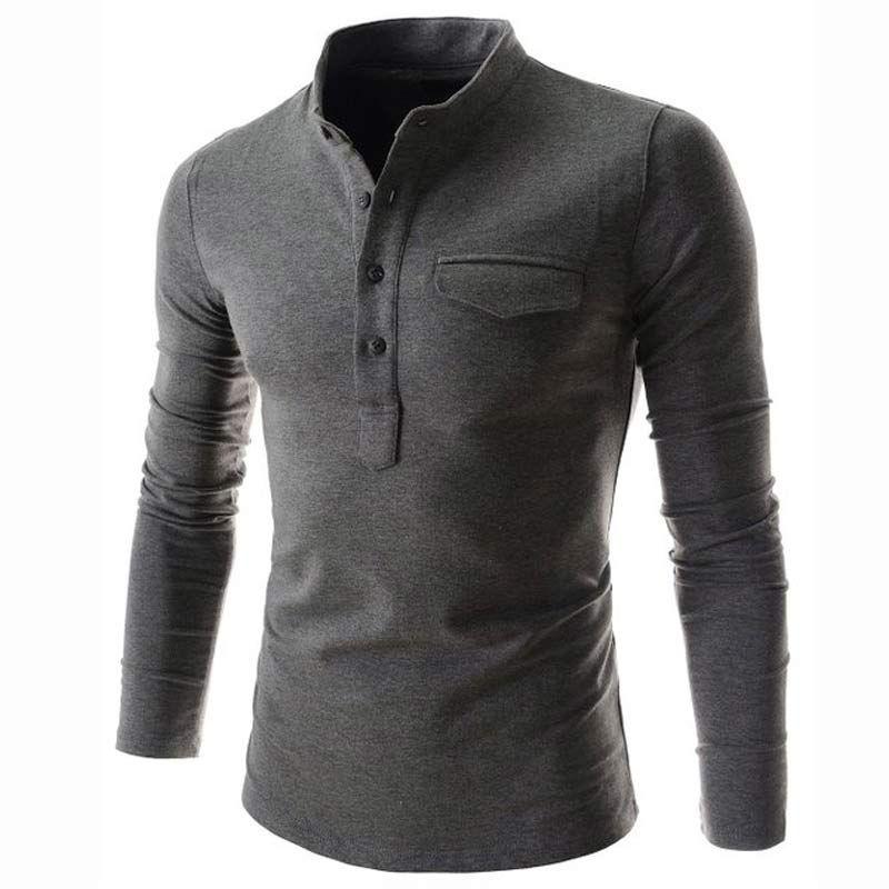 2b8c5f5b 2019 New Wine Red Polo Shirt Men Polo Homme Autumn Mens Fashion Long Sleeve  Cotton Henley Shirt Brand Slim Fit Mens Polo Shirts From Clothingdh, ...