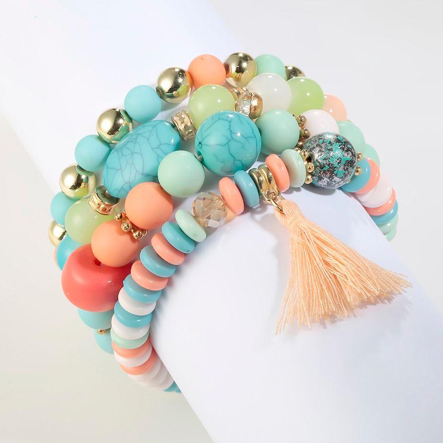 RAVIMOUR Bohemian Women Bracelet Femme Jewelry Tassel Charm Bracelets & Bangles Set Boho Bead Stone Crystal Vintage Pulseiras