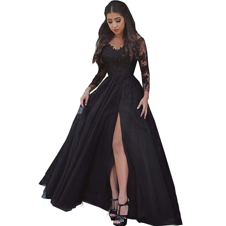 Women\'S Lace Appliques Long Sleeves Illusion Slit Evening Dress ...