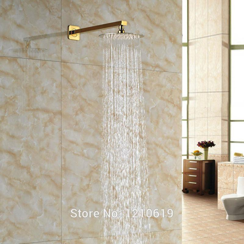 Newly 8 Inch Rainfall Top Shower Head W/ Arm Gold Plate Round Shower ...