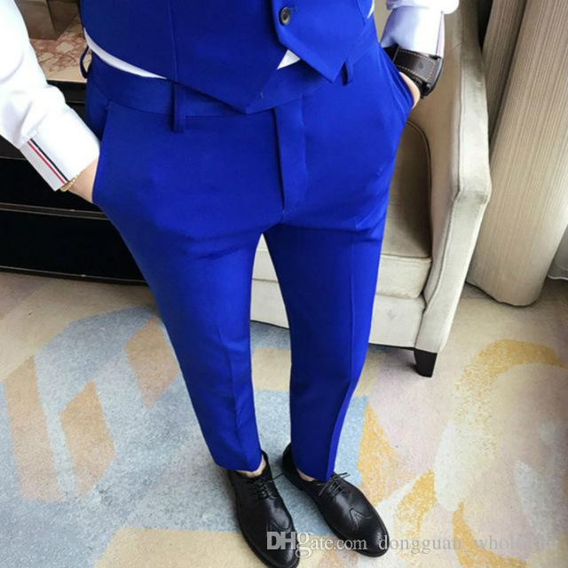 94cd40e2e6c Acheter Luxe 4 Couleur Royal Robe Costume Pantalon Hommes Classique Vintage  Business Royal Bleu Rouge Slim Fit Pantalon Homme De  30.92 Du ...