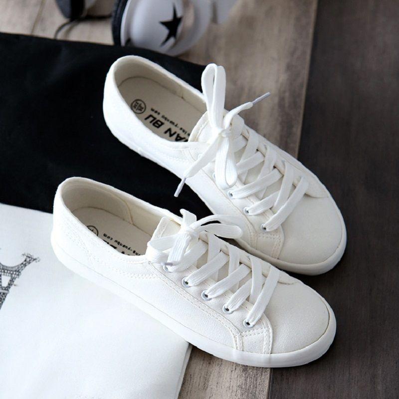 Acheter 2019 Casual Classique Femmes Appartements Solide Blanc Sneakers  Casual Chaussures Dames Toile Chaussures Femelle Baskets De Mode Panier  Femme Tenis ... 96b6be0a4358