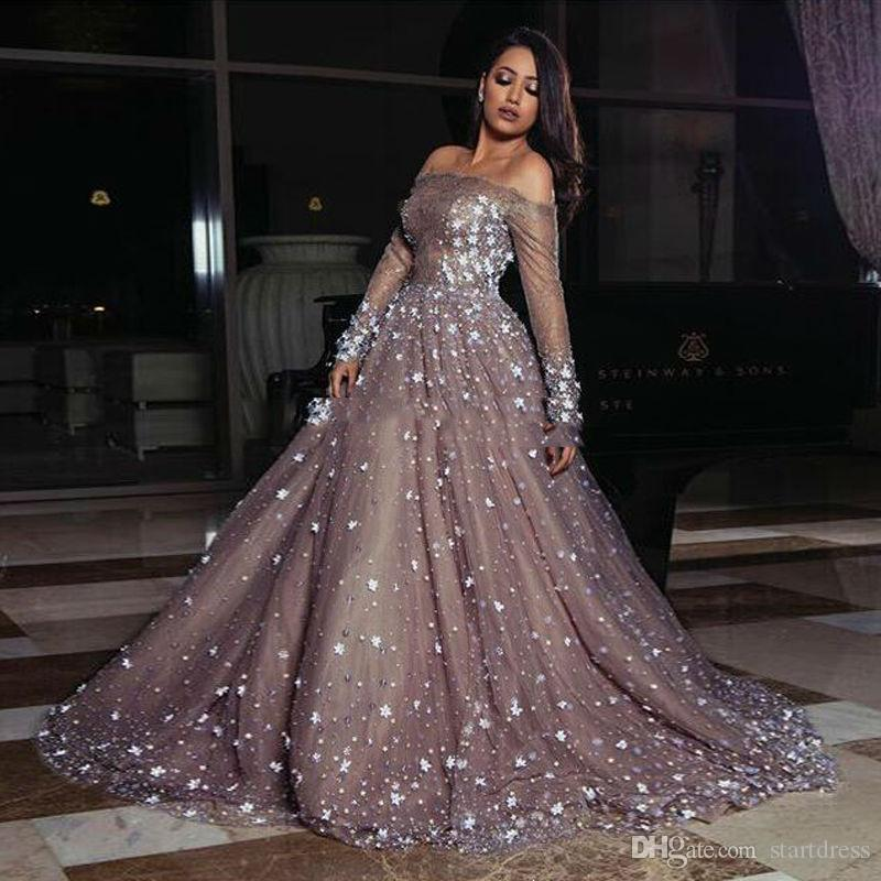 2018 Luxury Prom Dresses Ball Gown Off Shoulder Long Sleeve Sweep Train Evening Gowns With 3D Applique Beads Formal Party Gowns