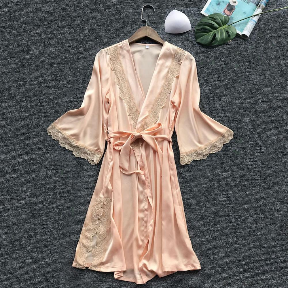 5ce89336bd Fashion Silk Bridesmaid Bride Robe Sexy Women Short Satin Wedding ...