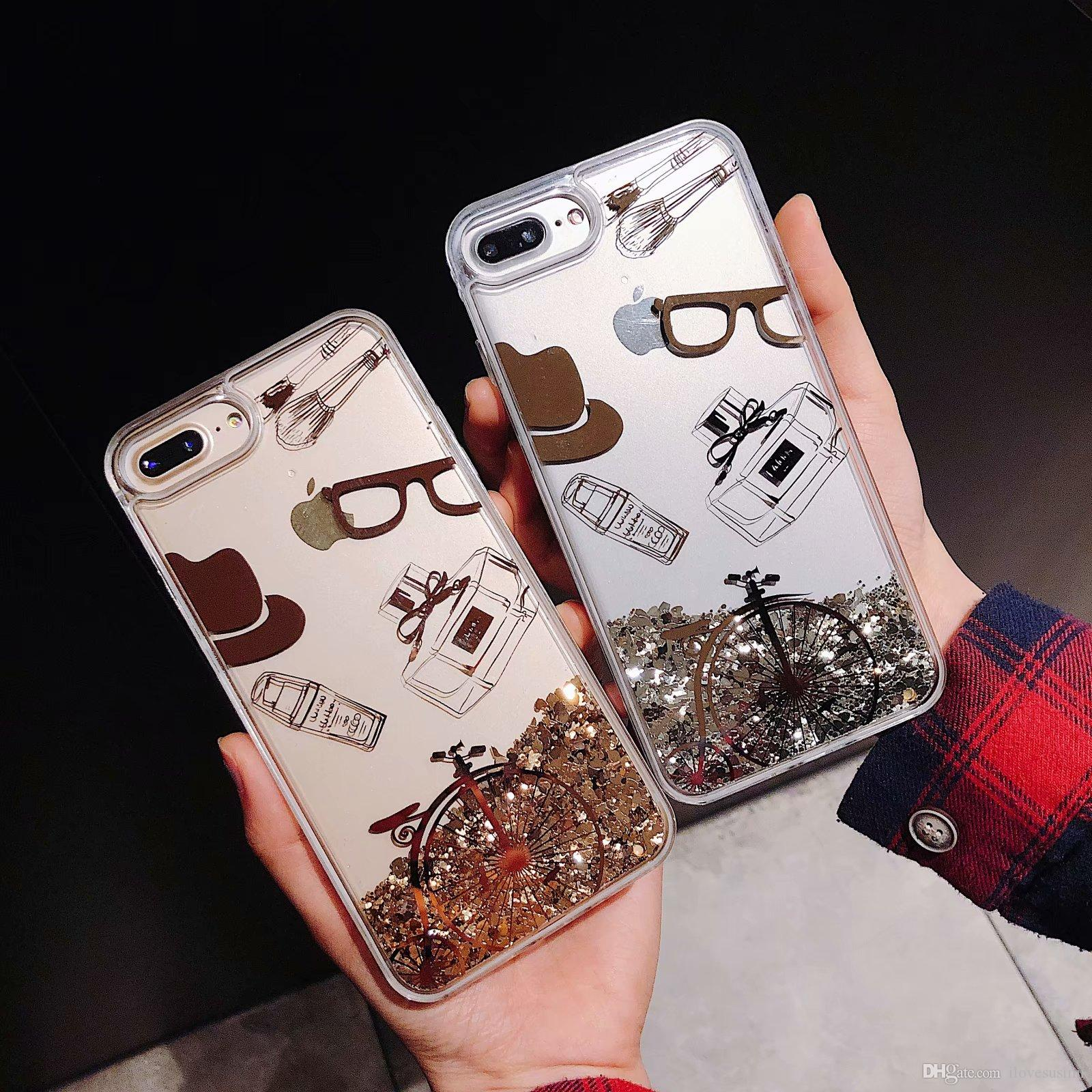 Şeffaf Telefon Kılıfları Eğlenceli Glitter Bisiklet Quicksand Sıvı kılıf Telefon Arka kapak Iphone 6 6 s artı 7 7 artı 8 8 artı x