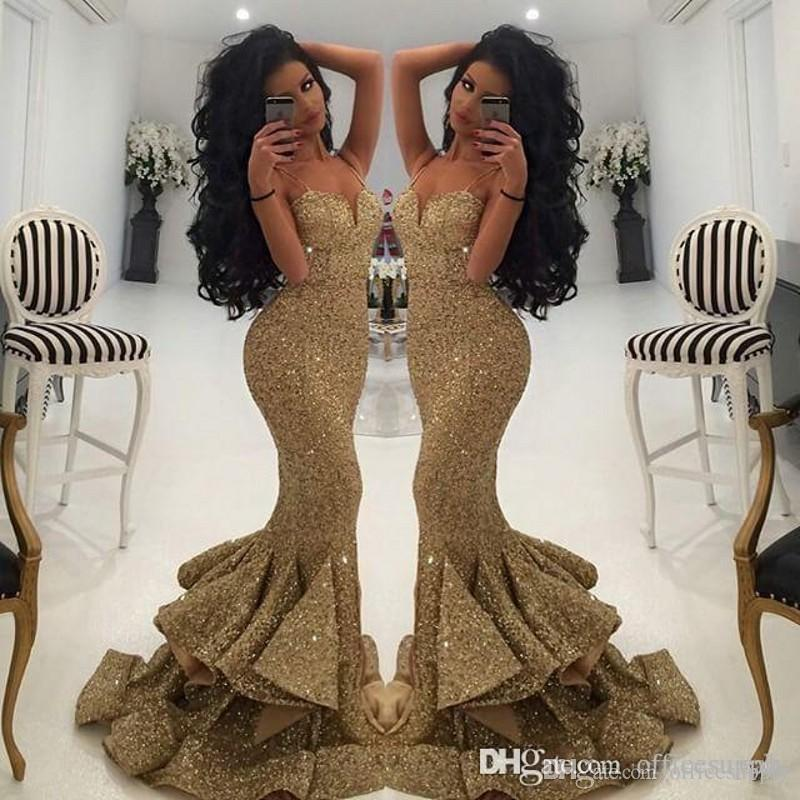 2019 Vintage Bling Gold Sequined Split Prom Dresses Mermaid Spaghetti Strap Open Back Sweep Train Evening Gowns Pageant Dress Formal