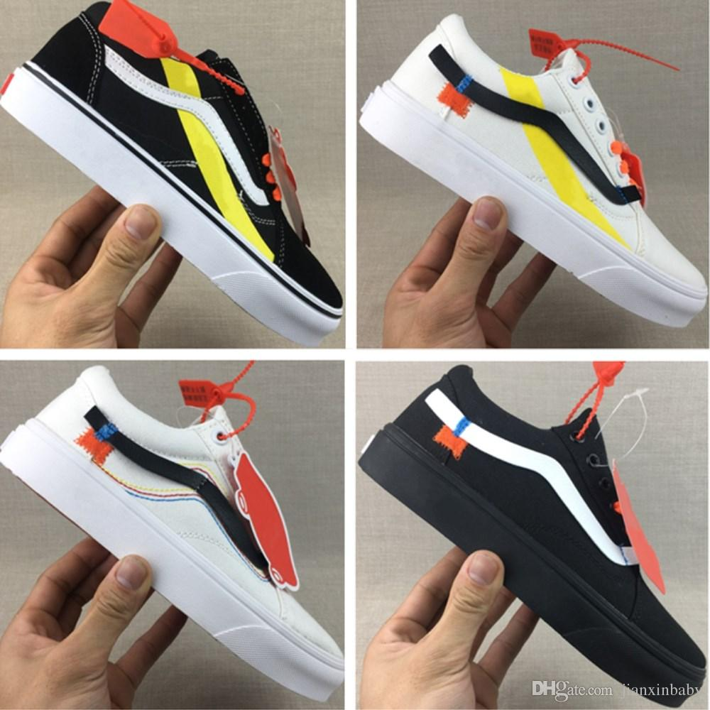 be607f02211017 With Box Vanses Off The Wall Old Skool Canvas Shoes Original Off ...