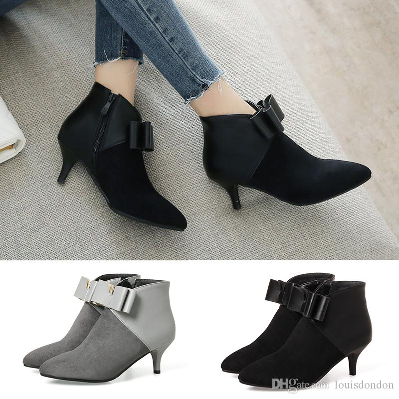 d1f5748ebd8 Women s fashion ankle boots kitten high heel suede zip pointed toe winter  black grey ladies booties