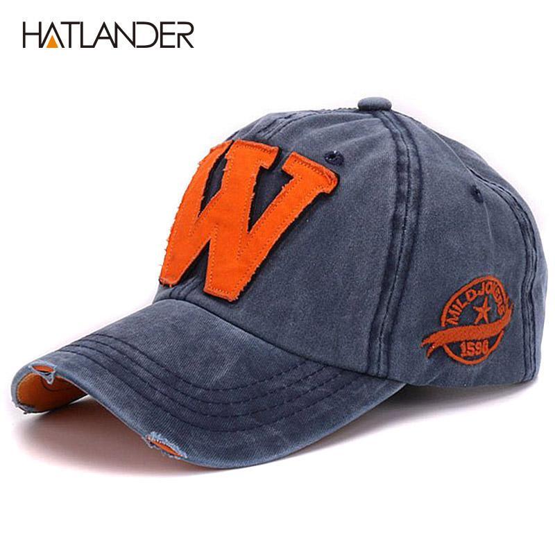 1f388951a109 Hatlander algodón letra W Gorra de béisbol retro deportes al aire libre  gorras mujer gorras de hueso encerado equipado lavado vintage sombreros de  ...