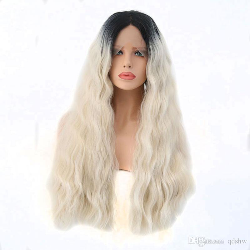 33bc567ad4ae8a Synthetic Lace Front Wig Heat Resistant Fiber Dark Roots Ombre White Blonde  Natural Wave