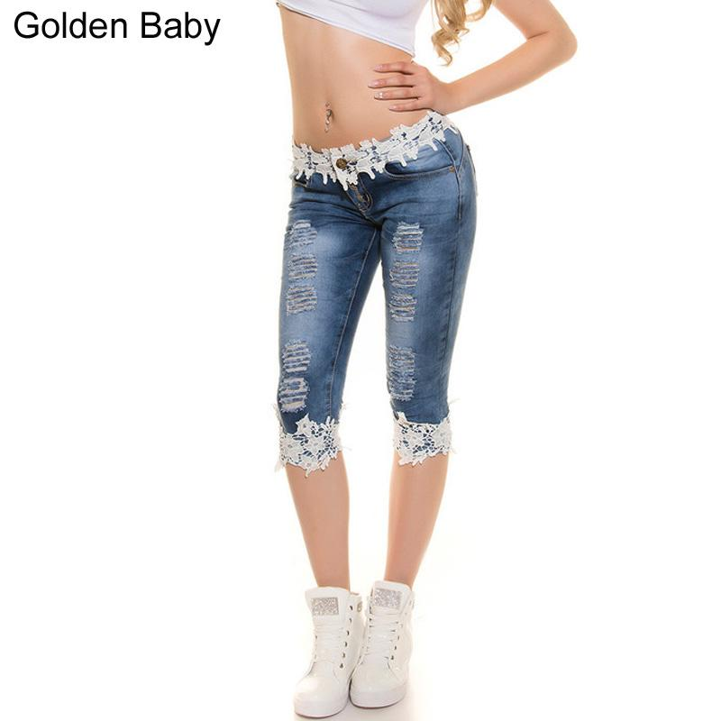185a11bfd8e Compre Hollow Lace Skinny Capris Jeans Mujer Mujer Stretch Knee Length Denim  Shorts Jeans Pants Mujeres Con Cintura Medio Verano A  25.64 Del Shipsoon  ...