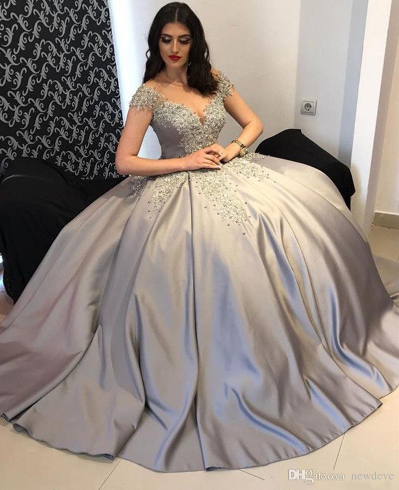 6754f5fc5e65d Silver Gray Ball Gown Prom Dresses Lace Appliques Beaded Cap Sleeves  Evening Gowns Satin Floor Length Formal Party Dress Customized Vestidos  Ignite Evenings ...