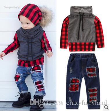 b6b5bf0e1ec2f Baby Boys Clothes Set Fall Winter Infant Toddler Baby Boy Long Sleeve Warm  Coat High Neck Plaid Tops Ripped Jeans Pants Outfits Sets