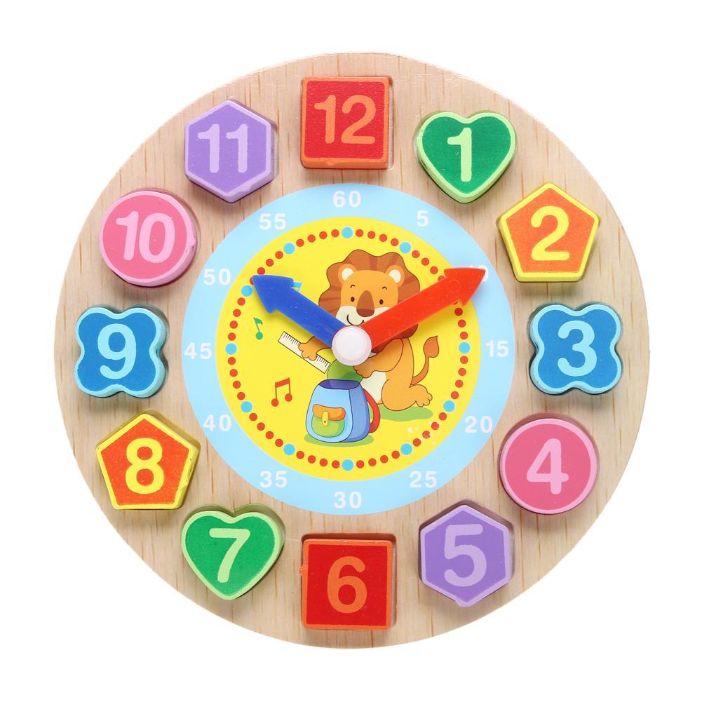 Juguetes de madera de dibujos animados Puzzle Conejo Threading Clock Juguetes para niños Geometría Educativa Beads Juguetes para bebés Juguetes de madera Juguetes
