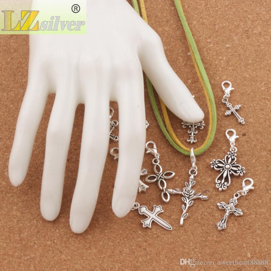 100 stks / partij Kruis Jezus Kreeft Claw Clasp Charm Beads Tibetaanse Zilveren Drijvende Fit Armband Sieraden Bevindingen Componenten CM28
