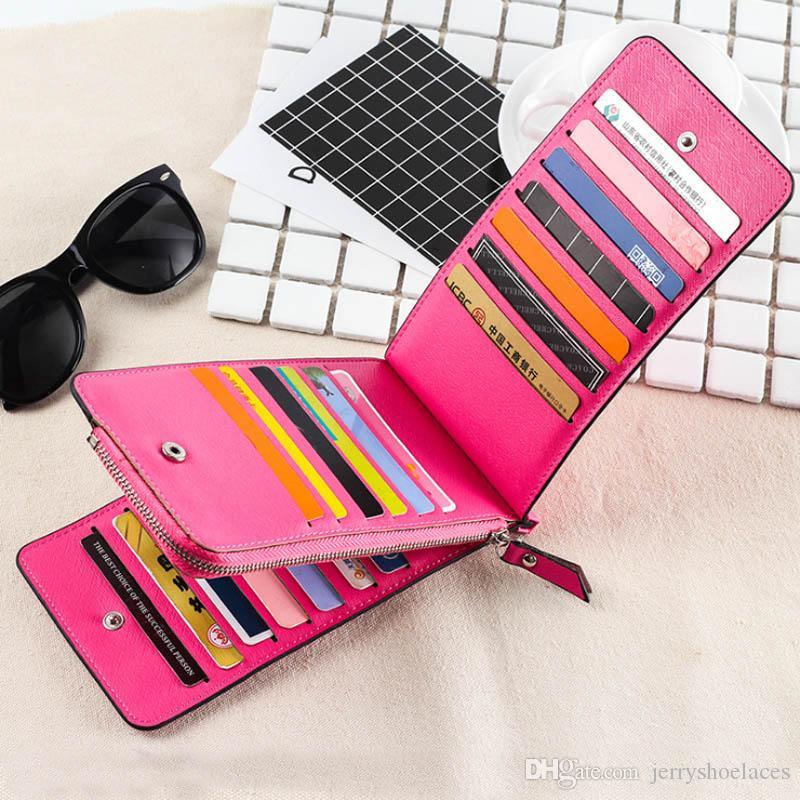 2018 vendita calda donne in pelle colorata portafoglio lungo carta moneta borsa signore Hangbag Zipper fermasoldi