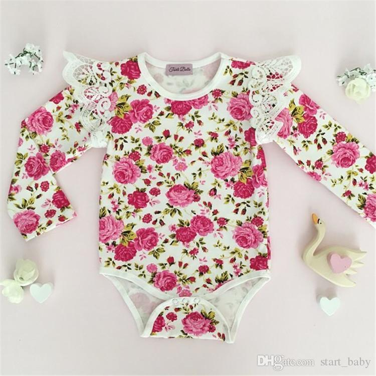 INS hot Baby Girl Infant Toddler Rose Flower Floral Romper Onesies Jumper Jumpsuits Dress Diaper Covers Lace Ruffle Sleeve Shoulder B11