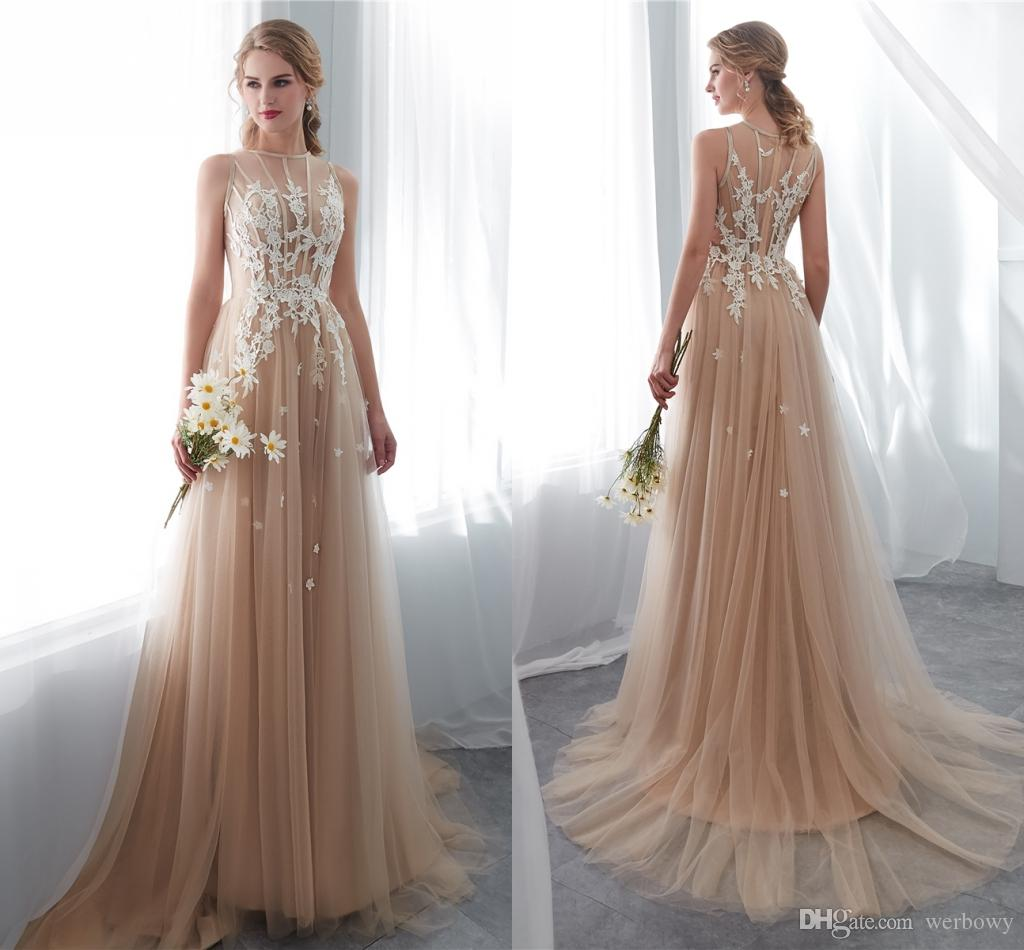 Discount Designer Wedding Gowns: Discount 2019 Designer Country Style Champagne Wedding