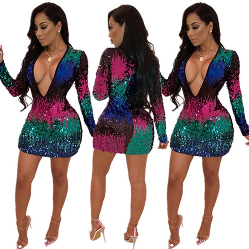 aaee66b545f8 Fashion Casual Dresses Bandage Bodycon Party Dress Sexy Sequined Deep V  Long Sleeve Mini Dress Women Clothes Skinny Sexy Club Wear 811 4 Evening  Dresses ...