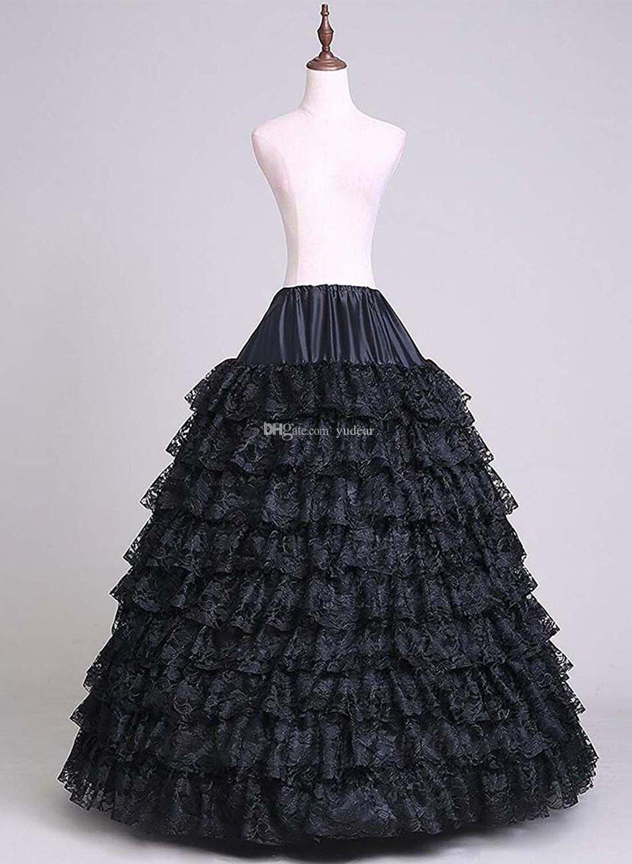 2019 Yeni Geliş Vintage Tam Dantel 9 Katmanlar Seksi Gelinlik Petticoats Lüks Quinceanera Elbiseler Jüpon Uzun Kabarık Etek