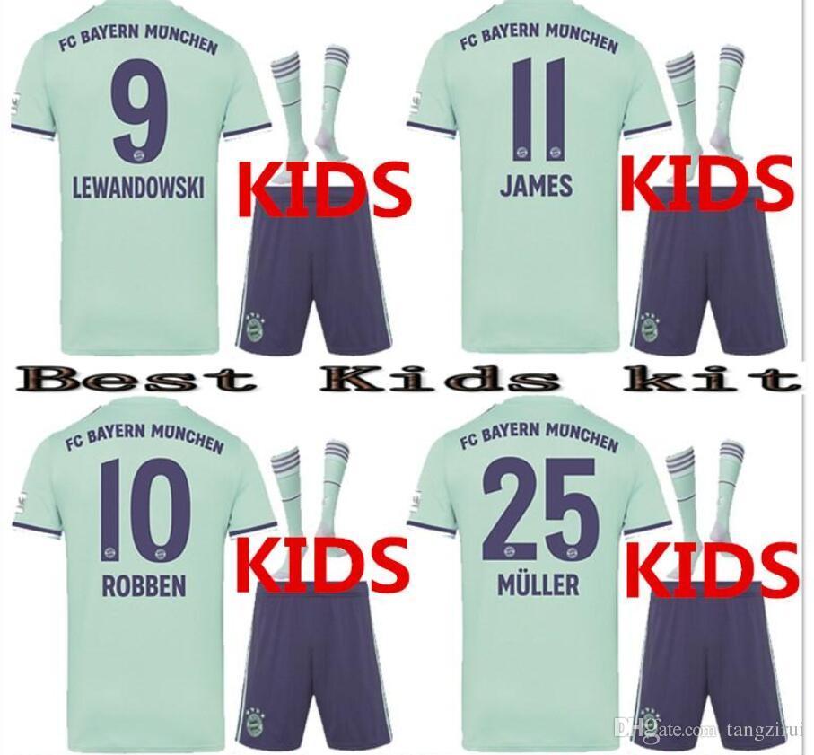 2019 TOP 2018 2019 Bayern Munich Away Kids Kit Jerseys JAMES VIDAL RIBERY  GOTZE SANCHES LAHM 18 19 LEWANDOWSKI MULLER ROBBEN Football Shirt From  Tangzirui d5ac752be