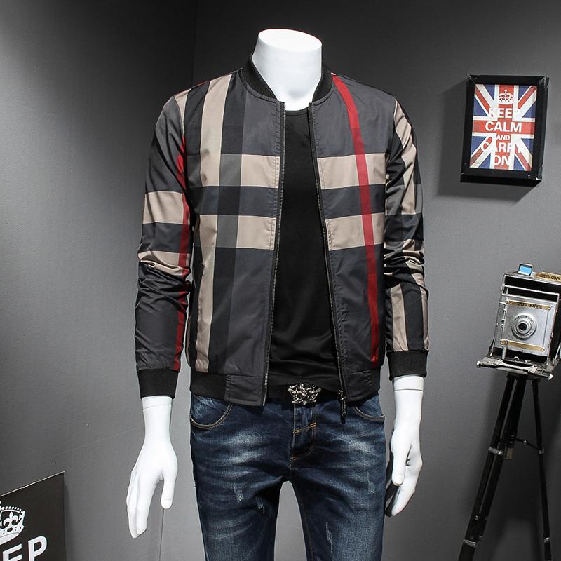 75d008d1ea ... Bomber Jacket Moda 2018 Homens Xadrez Primavera Jaqueta De Manga  Comprida Slim Fit Blusão Casaco Masculino 5XL M Quente De Cagney