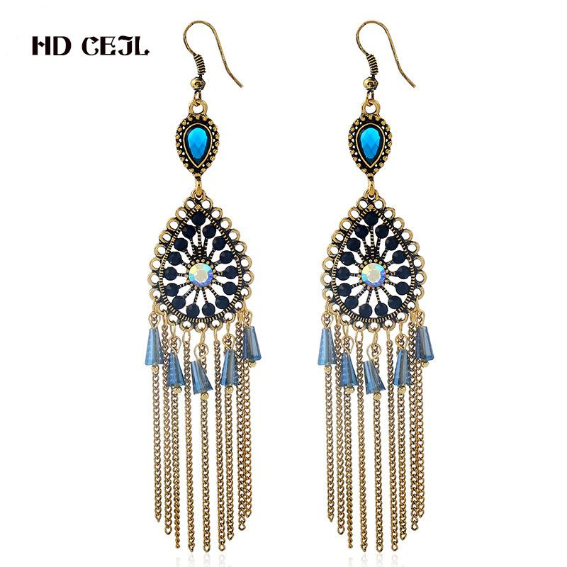 2018 New Europe And America Retro Bohemian Alloy Water Drops Tassel ... 550cd1a5330f