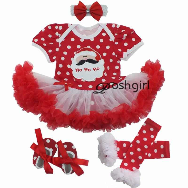 2b3642313e8 2019 Newborn Baby Christmas Santa Claus Dress Romper Set Polka Dot Infant  Clothes Girl Gift 1 Year Party Dress Photo Photography Prop From  Paradise02