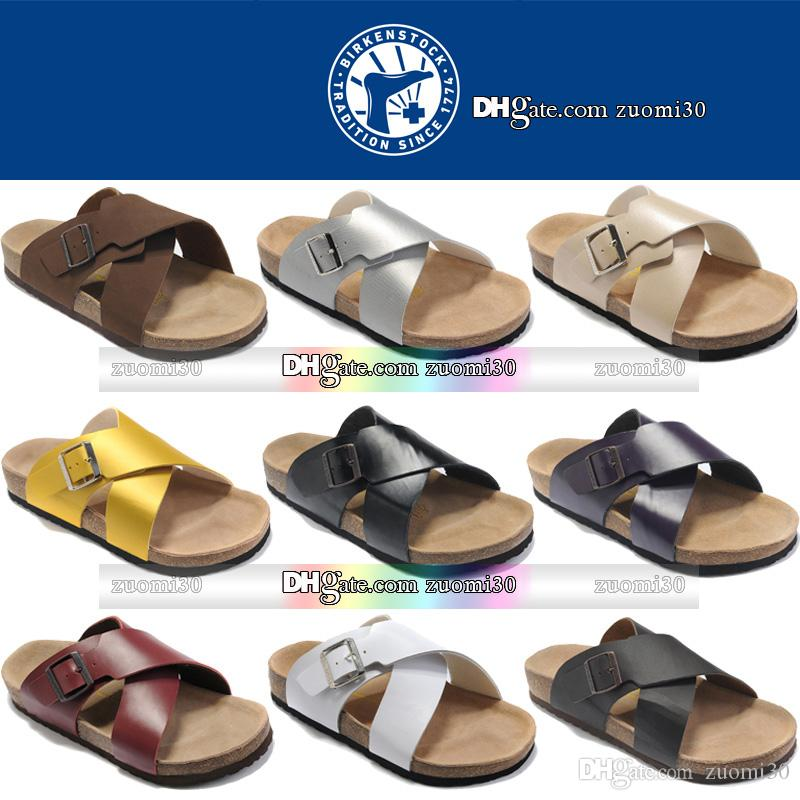 Birkenstock Flats Sandals Fashion Style Buckle Mens Womens Leather Flat  Slippers Shoes Girls Boys Summer Beach Casual Sandal Platform Heels Canada  2019 From ... a9e7fe01f0b