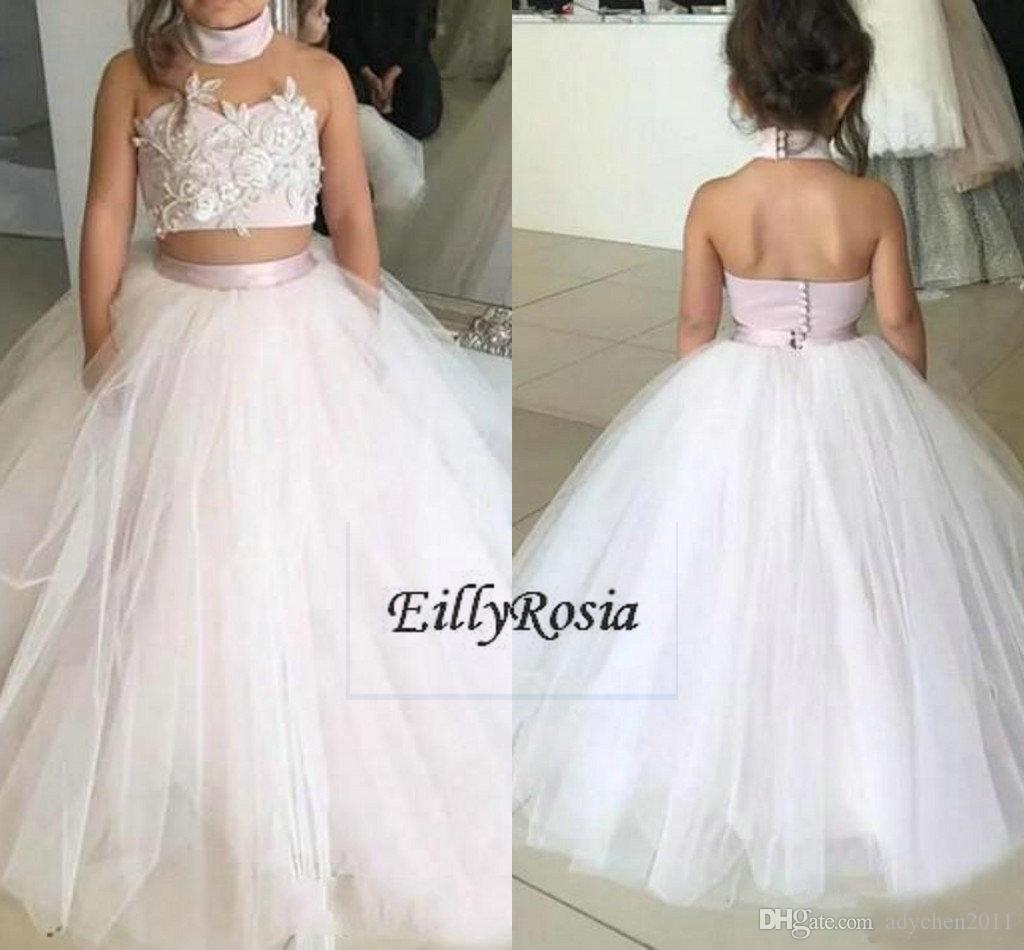 Two Pieces Girls Pageant Dresses New Look Tulle Sleeveless Beaded ...