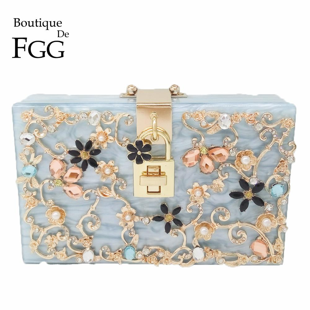 cfe0ef01c3 Boutique De FGG Light Blue Flower Crystal Women Fashion Day Clutches  Acrylic Box Clutch Evening Bag Shoulder Handbag Purse