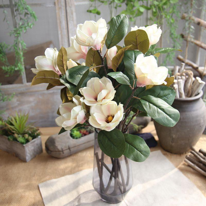 2019 Artificial Magnolia Flowers Lovely Leaf Fake Magnolia Floral