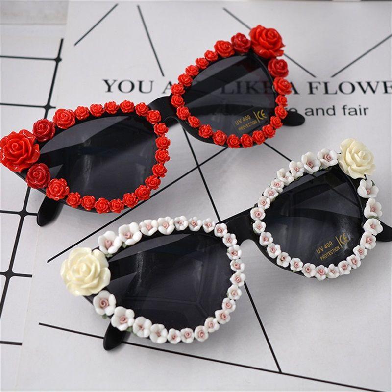 ca4da1448660 Retro Sun Glasses Rhinestone Flower Glass Men Women Sunshade Sunscreen Designer  Sunglasses Cat Eye Window Shopping Small 23 6nt Cc Prescription Sunglasses  ...