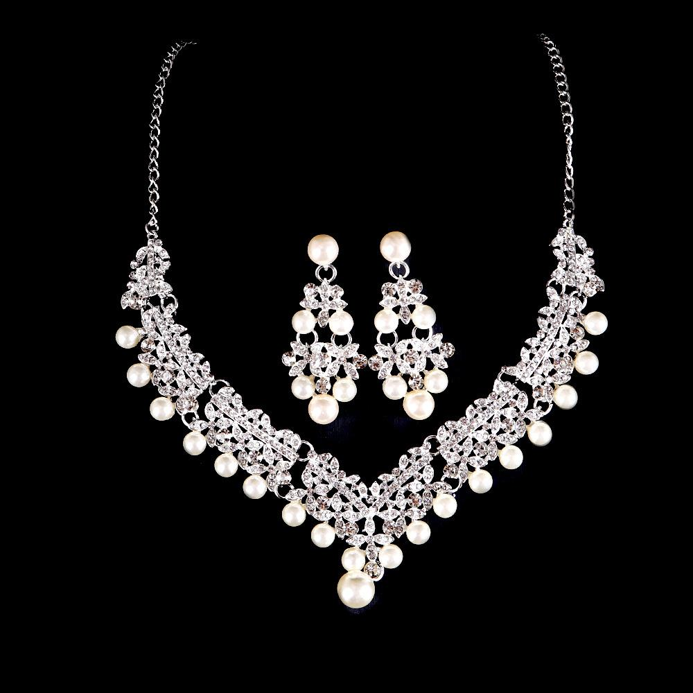 9569e08d2 Bridal Wedding Accessories Bridal Pearl Rhinestone Necklace Earrings ...