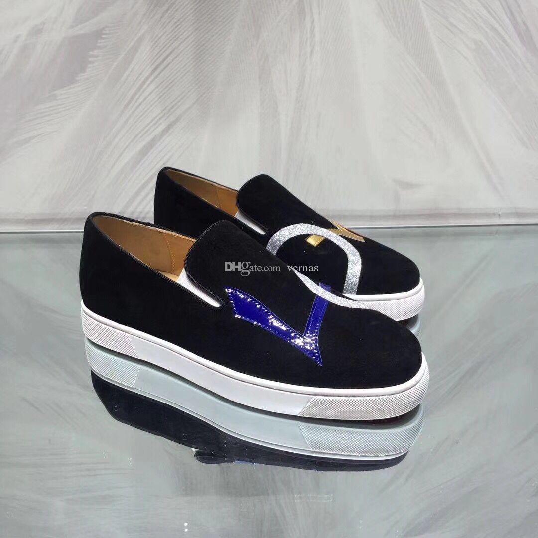 61fcf4111995 Comfortable Dandylove Loafers Shoes Black Velvet Gentleman Mocassin Shoes  Love Gift Red Bottom Luxury Wedding Party Dress EU35-46