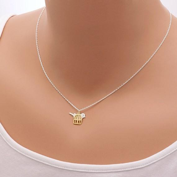 2018 Fashion birds and bird cage pendant necklace golden mixed silver plated necklaces wholesale