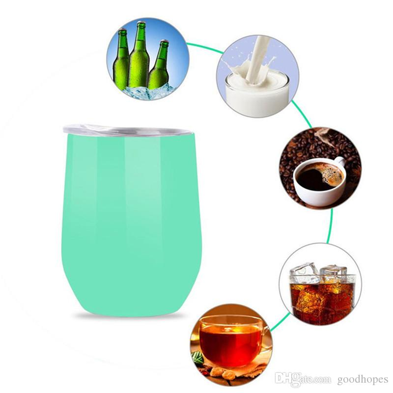 Stainless Steel Wine Glasses 12oz Vacuum Insulated Double Wall Beer Mugs Heat Preservation Travel Outdoor Sport Water Cups Bottles
