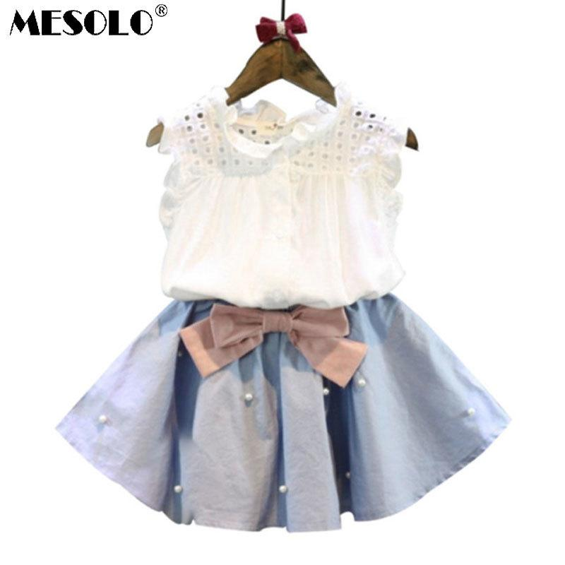 d607810c8 2019 2 8 Years Kids Clothes For Girls The Bow Skirt And Lace Top ...