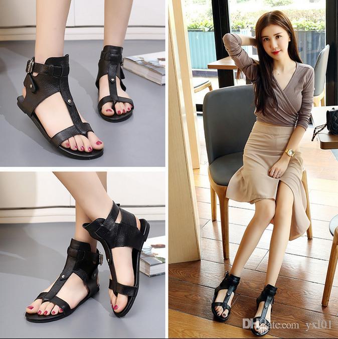 c429d4ae98 2018 Hot Ins Fashion Roman Sandals Women Luxury Designer Shoes Cowhide  Leather for Cheap Sale Thin Leg Black Slippers Sandalias Size 35-39