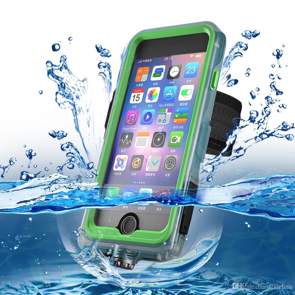 For iPhone 6/6s Plus 7/8 Waterproof Scratchproof Phone Case Sport Armband Kickstand Phone Cover Dust Prevention With Retail Package