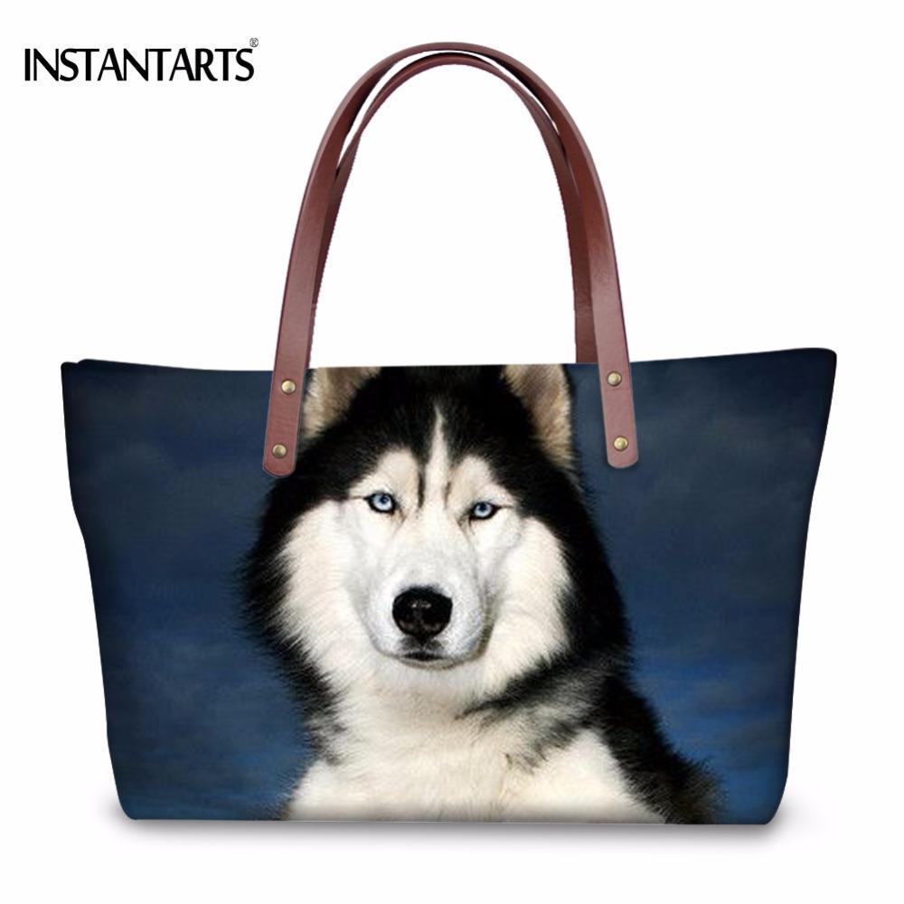 464ce03b3b21 INSTANTARTS Fashion Women Large Tote Bags Cute 3D Animal Dog Husky Print  Female Shoulder Bags For Shopping Travel Beach Handbags Side Bags Handbag  Brands ...