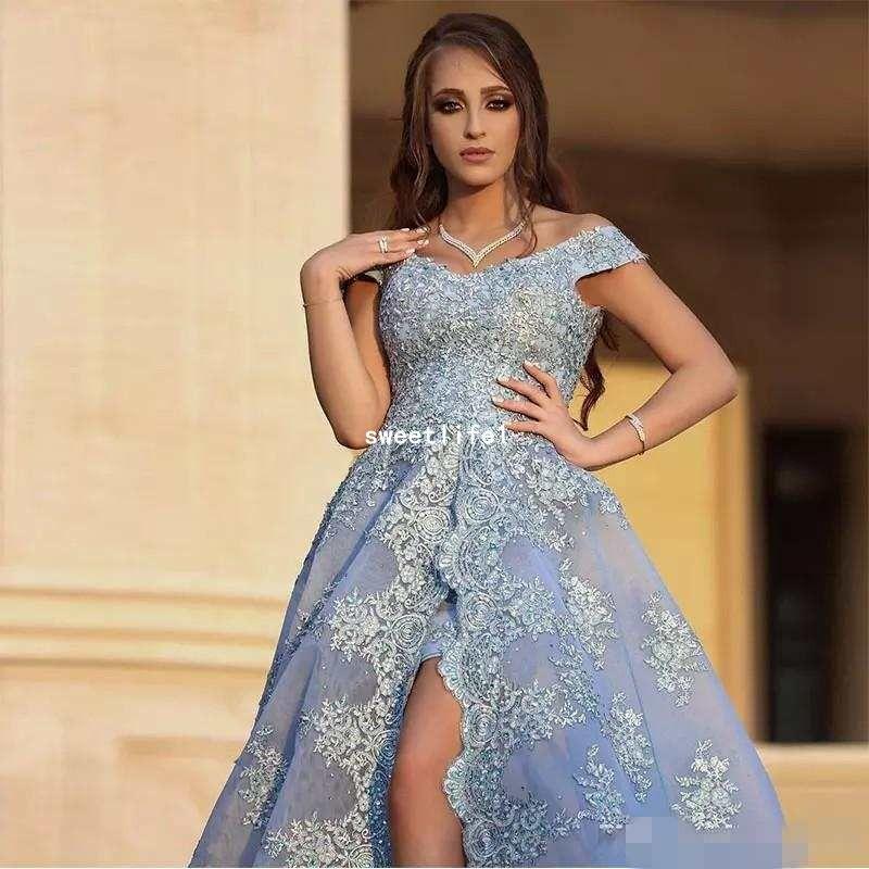 2019 Açık Mavi Arapça Abiye Kadınlar Nişan Elbise Ile Dantel Aplike Seksi Yüksek Yarık Balo Elbise Robe de Soiree Longue Dubai Abiye