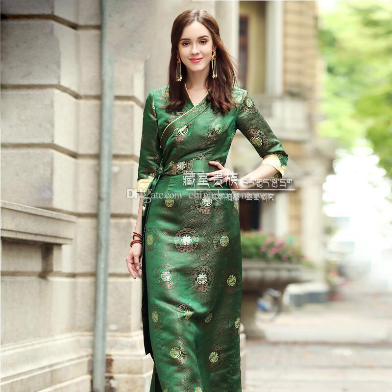 566e1dde48a1 2019 Tibetan Dance Costume Chinese Traditional Clothing Long Qipao Gown  Tibet Style Cheongsam Dress Ethnic Minority Stage Wear From Chinadragontown