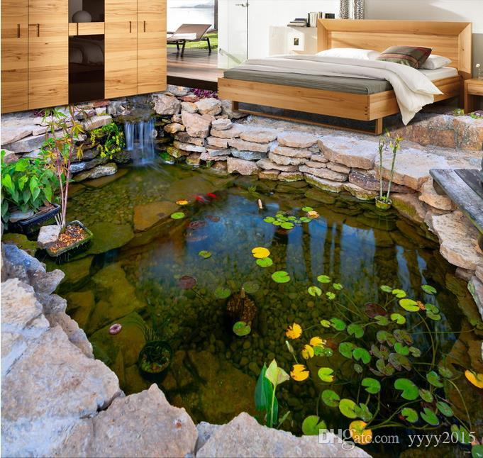 wallpaper for walls 3 d for living ro 3d three-dimensional pond river pond stone rockery lotus leaf bedroom floor painting