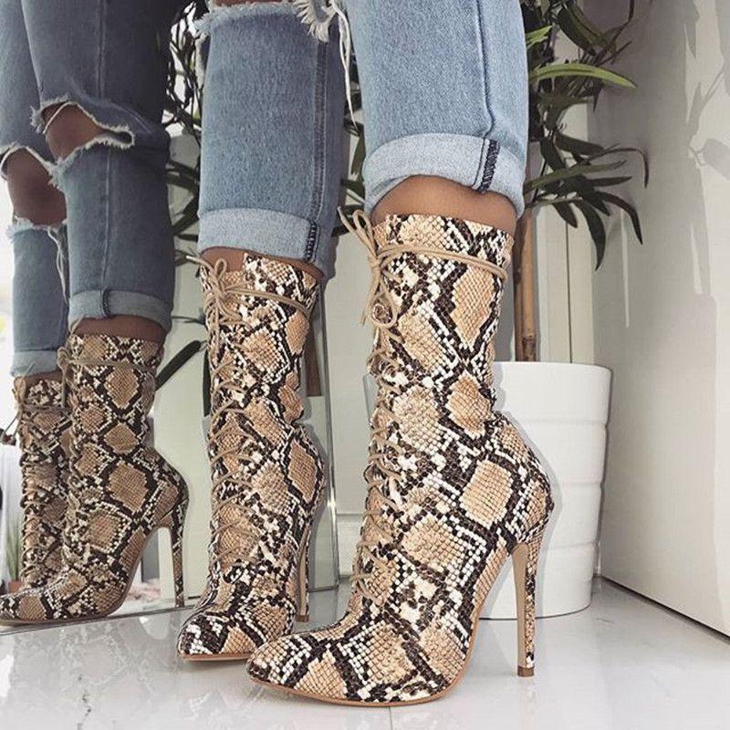 1f8b39b83d872 MeiLiKeLin Große Größe 35-42 Brown Snakeskin Muster Halb Kniehohe Stiefel  dünne High Heels Spitzschuh Schnürschuh Street Frauen Stiefel