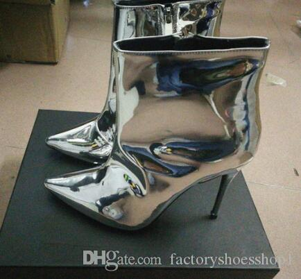 2018 Street Style Silver Metallic Patent Leather Women Boots New Arrival High Heels Fashion Runway Dress Women Ankle Boots Shoes