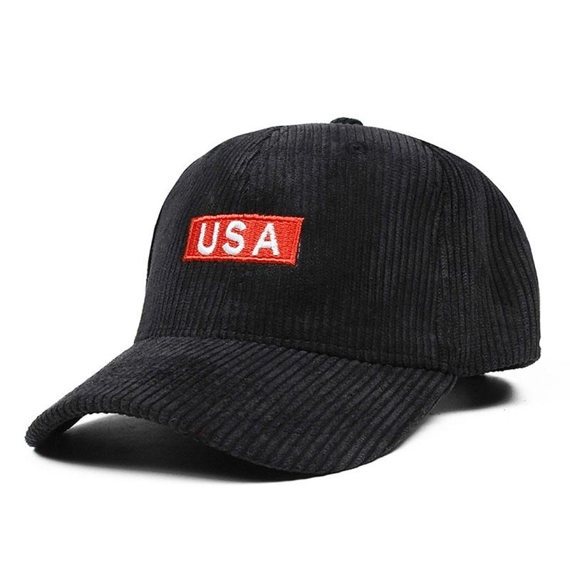 ed1e10b3b76 Fashion Women s Striped Corduroy Curved Baseball Cap Embroidered USA Patch Adjustable  Ball Hat Grey Black Navy Camel Dark Red Army Hats Custom Caps From ...