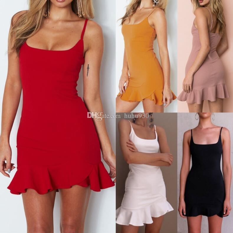 b9f807f543 2018 New Fashion Women Fashion Sexy Backless Summer Dress Slim Short  Bodycon Club Party Dresses Beach Pleated Sleeveless Dresses Size S XL Plus  Size Maxi ...
