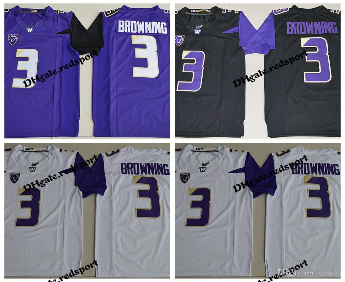 quality design eb09e 3a88d Washington Huskies Jake Brownin College Football Jerseys Mens 3 Jake  Browning Stitched University Football Shirts Purple Black White