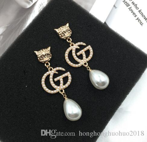 Fashion creative personality lion head letter G earrings drop pearl pendant tiger head earrings 6.4X2.4cm